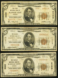 National Bank Notes:Missouri, Kansas City, MO $5 1929 Three Different Banks.. Ty. 2 The First NBCh. # 3456;. Ty. 1 The Peoples NB Ch. # 9309;. Ty... (Total: 3notes)