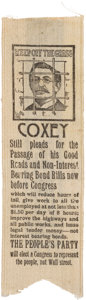 "Political:Ribbons & Badges, ""Coxey's Army"": A Rare and Important 1894 Social Protest/Political Ribbon...."