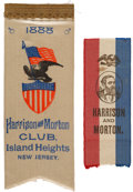 Political:Ribbons & Badges, Benjamin Harrison: Two Beautiful Near-Mint Ribbons, One From New Jersey.... (Total: 2 Items)