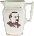 Political:3D & Other Display (pre-1896), Grover Cleveland: Dual-Portrait Soft Paste Pitcher....