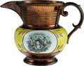Political:3D & Other Display (pre-1896), Marquis de Lafayette: Large Copper Luster Pitcher....