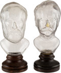 Political:3D & Other Display (pre-1896), James A. Garfield and Winfield Scott Hancock: Clear Glass Figural Cologne Bottles on Their Original Wooden Bases. ...