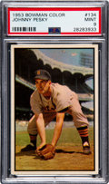 Baseball Cards:Singles (1950-1959), 1953 Bowman Color Johnny Pesky #134 PSA Mint 9 - Pop Two, NoneHigher....