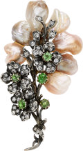 Estate Jewelry:Brooches - Pins, Antique Diamond, Demantoid Garnet, Freshwater Pearl, Silver-Topped Gold Brooch. ...