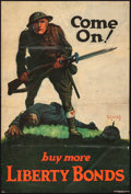 "Movie Posters:War, World War I Propaganda (U.S. Government Printing Office, 1918). Liberty Bond Poster (19.75"" X 29"") ""Come On! Buy More Libert..."