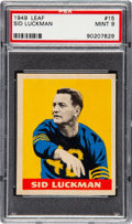 Football Cards:Singles (Pre-1950), 1949 Leaf Sid Luckman #15 PSA MINT 9 - Pop One, None Higher! ...