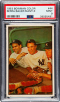 Baseball Cards:Singles (1950-1959), 1953 Bowman Color Berra/Bauer/Mantle #44 PSA Mint 9 - None Higher....