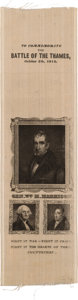 Political:Ribbons & Badges, William Henry Harrison: An Outstanding 1840 Silk Campaign Ribbon Picturing Him with Washington and Lafayette....