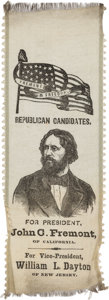 Political:Ribbons & Badges, John C. Frémont: Outstanding Silk Campaign Ribbon for the First Republican Presidential Candidate....