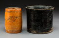 Pre-Columbian:Ceramics, Two Maya Vessels: one Finely Grooved Blackware with ConcentricRectangular Panels; and Orangeware with Birds and Flowers...(Total: 2 Items)