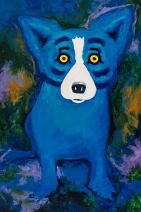 George Rodrigue (1944-2013) Swimming in the Blues (Blue Dog) Acrylic on canvas 70-3/8 x 47 inches