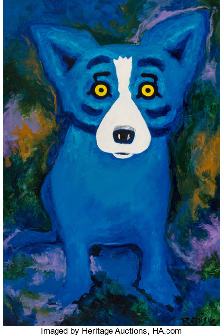 George Rodrigue (1944-2013)Swimming in the Blues (Blue Dog)Acrylic on canvas70-3/8 x 47 inches (178.8 x 119.4 cm)...