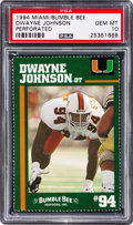 Football Cards:Singles (1970-Now), 1994 Miami Bumble Bee Dwayne Johnson PSA Gem Mint 10....