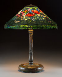 Tiffany Studios Leaded Glass and Bronze Red Poppy Table Lamp Circa 1905. Shade st