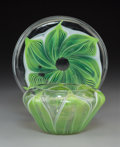 Art Glass:Tiffany , Tiffany Studios Clear and Pulled Feather Glass Bowl and Dish. Circa1900. Engraved L.C.T., O2346. Di. 6-1/4 in. (dish). ...(Total: 2 Items)