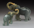 Art Glass:Daum, Two Daum Pate-de-Verre Glass Elephants with Original Boxes. Late20th century. Engraved Daum, France. Ht. 8 in.. ... (Total:2 Items)