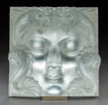 Glass, Lalique Frosted Glass Masque de Femme Plaque. Post-1945. Engraved Lalique, France. Ht. 12-1/2 in. With origi...