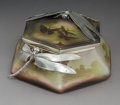 Art Glass:Galle, Unique and Important Gallé Overlay Glass Landscape Box Mounted with French Silver Dragonflies. Circa 1910. Cameo...