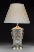 Art Glass:Lalique, R. Lalique Frosted and Clear Glass Camargue Vase with Sepia Patina Mounted as a Lamp. Circa 1942 with later elem...