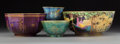 Ceramics & Porcelain, Four Wedgwood Fairyland Lustre Chinoiserie Porcelain Bowls. Circa 1920. Gilt (vase), WEDGWOOD, MADE IN ENGLAND. Ht. 2-7/... (Total: 4 Items)