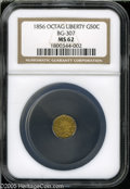 California Fractional Gold: , 1856 50C Liberty Octagonal 50 Cents, BG-307, High R.5, MS62 NGC. Acrisply struck and satiny example of this scarce and awk...