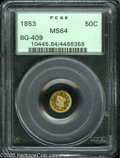 California Fractional Gold: , 1853 50C Liberty Round 50 Cents, BG-409, R.3, MS64 PCGS. Thecenters exhibit blushes of plum color, and are bounded by brig...