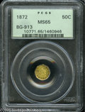 California Fractional Gold: , 1872 50C Liberty Octagonal 50 Cents, BG-913, R.4, MS65 PCGS. Anolder holder Gem, generally lime-green in color although br...
