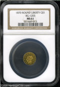 California Fractional Gold: , 1870 $1 Liberty Round 1 Dollar, BG-1203, Low R.5, MS61 NGC. Asuitably struck piece, only the O in DOLLAR is not crisply im...