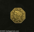 California Fractional Gold: , 1863 G$1 Liberty Octagonal Dollar, BG-1307A, R.1, MS62 Uncertified.0.7 grams, reeded edge. A lustrous, boldly struck, and ...
