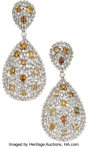 Estate Jewelry Earrings Diamond Colored White Gold