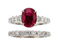 Estate Jewelry:Rings, Ruby, Diamond, White Gold Ring Set. ... (Total: 2 Items)
