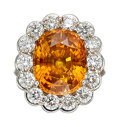 Estate Jewelry:Rings, Yellowish Orange Sapphire, Diamond, Platinum Ring . ...