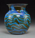 Art Glass:Other , Charles Lotton Iridescent Glass King Tut Vase. Circa 1974.Engraved Charles Lotton, 1974. Ht. 8 in.. ...