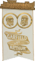 Political:Ribbons & Badges, Garfield & Arthur: Pristine Jugate Ribbon with Canal Boat Hanger....