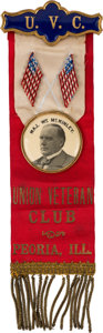 Political:Ribbons & Badges, William McKinley: Rare Union Veteran Ribbon Badge. ...