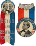 Political:Pinback Buttons (1896-present), Bryan & Sewall: Showy Jugate and Single Portrait Badge. ... (Total: 2 Items)
