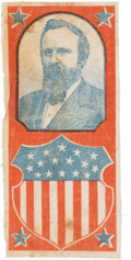 Political:Ribbons & Badges, Rutherford B. Hayes: A Bold Red, White and Blue 1876 Campaign Ribbon. ...