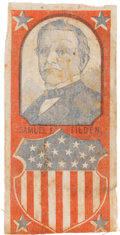 Political:Ribbons & Badges, Samuel J. Tilden: A Bold Red, White and Blue 1876 Campaign Ribbon....
