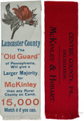 Political:Ribbons & Badges, William McKinley: Two 1896 Ribbons from Pennsylvania.... (Total: 2 Items)