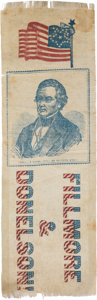 Political:Ribbons & Badges, Millard Fillmore: Classic Red, White and Blue 1856 Ribbon....