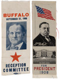 Political:Ribbons & Badges, William Jennings Bryan & William Howard Taft: Two Fine 1908 Campaign Ribbons....