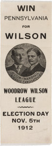 Political:Ribbons & Badges, Wilson & Marshall: Outstanding 1912 Ribbon Picturing a Campaign Button....