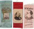 Political:Ribbons & Badges, Benjamin Harrison, Grover Cleveland & William McKinley: Three Diminutive Campaign Ribbons....