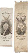 Political:Ribbons & Badges, George Washington: Two Fine, Early Silk Ribbons.... (Total: 2 Items)