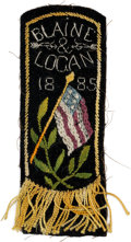 Political:Ribbons & Badges, James G. Blaine: Most Unusual Embroidered Campaign Ribbon Badge....