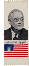 Political:Ribbons & Badges, Franklin D. Roosevelt: Most Unusual Woven Silk Ribbon with American Flag....