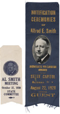 Political:Ribbons & Badges, Al Smith: Two Fine Silk Notification and Mass Meeting Ribbons....