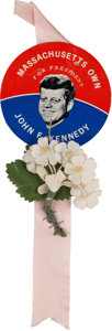 Political:Ribbons & Badges, John F. Kennedy: Classic Ribbon Badge Worn at the 1960 Democratic National Convention....