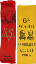 Political:Ribbons & Badges, McKinley & Hobart and McKinley & Roosevelt: Two Choice Jugate Ribbons from 1896 and 1900.... (Total: 2 Items)