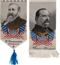 Political:Ribbons & Badges, Benjamin Harrison & Grover Cleveland: Two Colorful Woven Ribbons.... (Total: 2 Items)